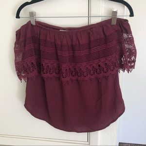 Nordstrom Socialite Maroon Strapless Top